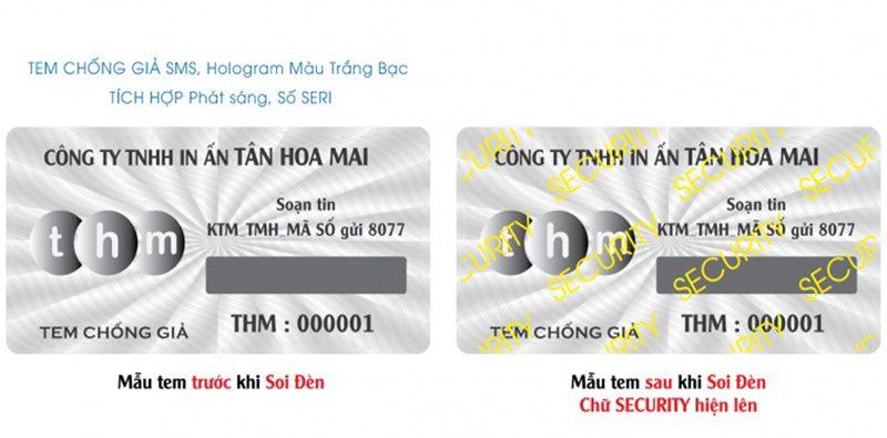tem chống giả hologram điện tử sms phát sáng