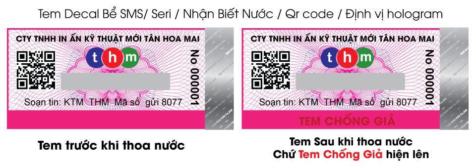 tem chống giả nhận biết nước điện tử sms tân hoa mai