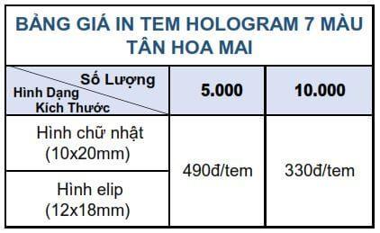báo giá tem hologram 7 màu