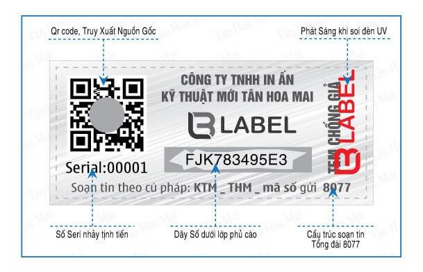 tem Qrcode 4.0 tích hợp công nghệ xác thực điện tử SMS, Hologram, Phát sáng