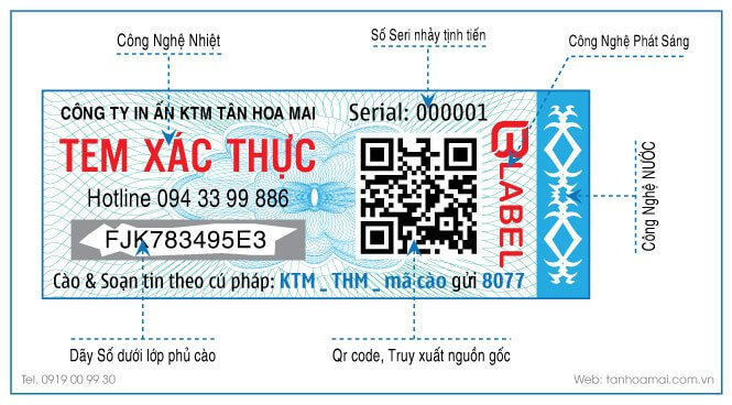 Tem tích hợp 4 công nghê bảo mật chống giả lên tem
